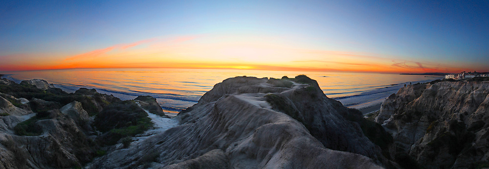 Colorful Coast at Sunset of San Clemente Panorama