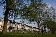 Looking up towards majestically tall Ash trees and blue skies, in an Edwardian age semi-detached house on Ruskin Park, Denmark Hill, SE24 (its post code) South London England. It is a beautiful spring evening in this inner-city suburban district of Britain's capital, approximately 5 miles south from the River Thames. The elegant line of period homes were completed in 1908, the age of innovative building in the new 20th Century. The properties overlook the borough park named after John Ruskin, the renowned artist and commentator who lived in nearby Herne Hill. It looks an affluent area, a prosperous location to invest in a mortgage in uncertain times with market prices falling during the credit crunch and recession.