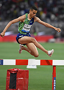 Soufiane El Bakkali (MAR) wins the steeplechase in 8:07.22 during the IAAF Doha Diamond League 2019 at Khalifa International Stadium, Friday, May 3, 2019, in Doha, Qatar