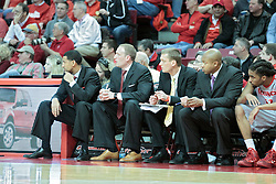26 February 2014:  Dana Ford, Dan Muller, Luke Yaklich, Torrey Ward during an NCAA Missouri Valley Conference (MVC) mens basketball game between the Indiana State Sycamores and the Illinois State Redbirds  in Redbird Arena, Normal IL.