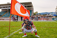 KELOWNA, BC - OCTOBER 6: Brody Mcpherson #37 of Okanagan Sun stands on the field after the win against the VI Raiders at the Apple Bowl on October 6, 2019 in Kelowna, Canada. (Photo by Marissa Baecker/Shoot the Breeze)