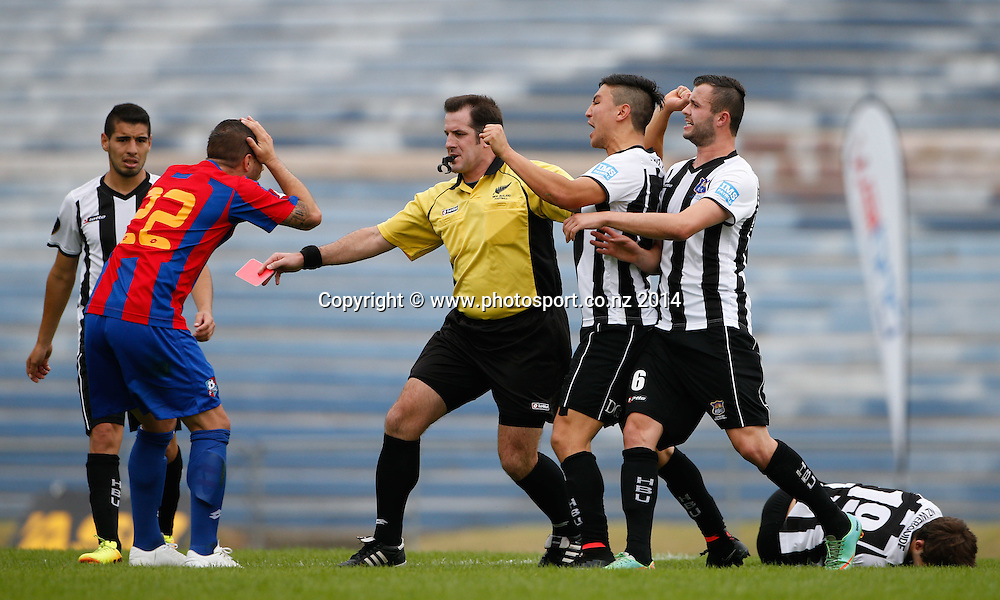 WaiBop's Craig Wylie reacts as the referee, Chris Kerr pulls the red card.  ASB Premiership Footbal Match. WaiBoP United v Hawkes Bay United, Rotorua International Stadium, Rotorua, New Zealand. Saturday, 20 December, 2014. Photo: John Cowpland / photosport.co.nz