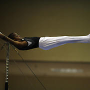 A young male gymnasts performs on the horizontal bar during competition at the 21st American Invitational 2014 competition at the XL Centre. Hartford, Connecticut, USA. USA. 31st January 2014. Photo Tim Clayton