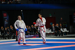 November 10, 2018 - Madrid, Madrid, Spain - Matoub Lamya (ALG) figth with Aliakseyeva Maryia (BLR) for third place of Female Kumite -68 Kg during the Finals of Karate World Championship celebrates in Wizink Center, Madrid, Spain, on November 10th, 2018. (Credit Image: © AFP7 via ZUMA Wire)
