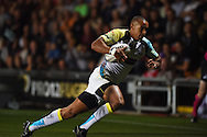 Eli Walker of the Ospreys &copy; dives over to score his 1st half try. .Guinness Pro12 rugby union, Newport Gwent Dragons v Ospreys at Rodney Parade in Newport, South Wales on Friday 12th Sept 2014<br /> pic by Andrew Orchard, Andrew Orchard sports photography.