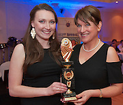 Chapter of the Year went to NUIG represented by Siun O'Rourke  presented by Ability West CEO Breda Crehan-Roche at the Ability West, Best Buddies ball at the Menlo Park Hotel, Galway. Photo:Andrew Downes Photography.
