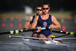 Australian Rowing Olympic Trials, March 2012, Sydney International Rowing Centre Day 3 - Tom Larkins and Cameron McKenzie-McHarg looking to confirm their seats in the boat they qualified for the Olympics at last year's World Championships.