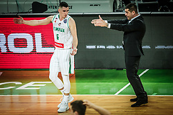 Jan Span of Petrol Olimpija and Aleksandar Saso Nikitovic, coach of Petrol Olimpija during basketball match between KK Petrol Olimpija and Promitheas Patras in Round #9 of FIBA Basketball Champions League 2018/19, on December 18, 2018 in Arena Stozice, Ljubljana, Slovenia. Photo by Vid Ponikvar / Sportida