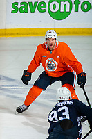 KELOWNA, BC - SEPTEMBER 22:  Patrick Russell #52 of the Edmonton Oilers practices on the ice at Prospera Place on September 22, 2019 in Kelowna, Canada. (Photo by Marissa Baecker/Shoot the Breeze)