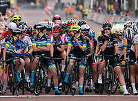 Team Tibco &ndash; Silicon Valley Bank chat at the start line on The Mall ahead of The Prudential RideLondon Classique. Saturday 28th July 2018<br /> <br /> Photo: Bob Martin for Prudential RideLondon<br /> <br /> Prudential RideLondon is the world's greatest festival of cycling, involving 100,000+ cyclists - from Olympic champions to a free family fun ride - riding in events over closed roads in London and Surrey over the weekend of 28th and 29th July 2018<br /> <br /> See www.PrudentialRideLondon.co.uk for more.<br /> <br /> For further information: media@londonmarathonevents.co.uk