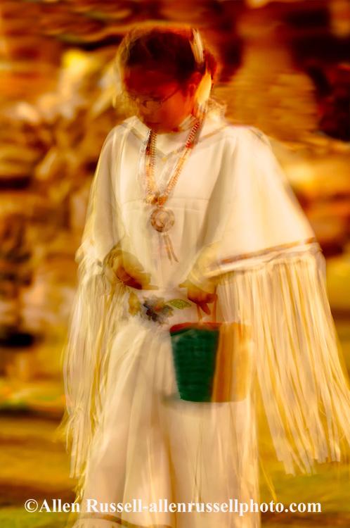 Teenage girl, soft focus, Womens Fancy Shawl Dance, Crow Fair, powwow, Crow Indian Reservation, Montana