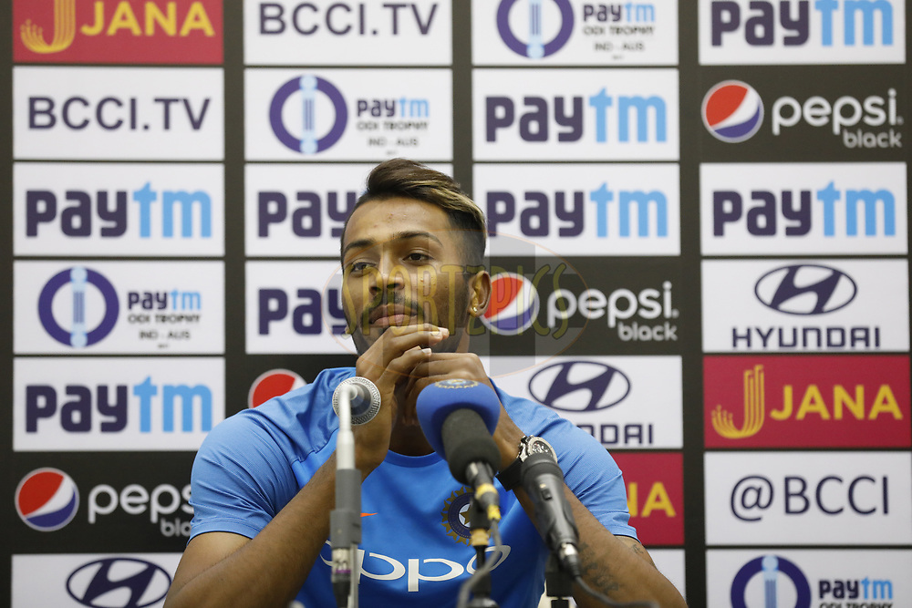 Hardik Pandya of India  during pressconference after the 3rd One Day International between India and Australia held at the Holkar Stadium in Indore on the 24th  September 2017<br /> <br /> Photo by Arjun Singh / BCCI / SPORTZPICS