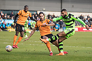 Forest Green Rovers Dan Wishart(17) shoots at goal during the EFL Sky Bet League 2 match between Barnet and Forest Green Rovers at The Hive Stadium, London, England on 7 April 2018. Picture by Shane Healey.