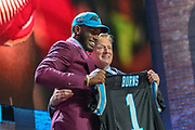 Apr 25, 2019; Nashville, TN, USA; Florida State defensive end Brian Burns poses with NFL commissioner Roger Goodell after being selected as the No. 16 pick of the first round by the Carolina Panthers during the 2019 NFL Draft. (Kim Hukari/Image of Sport)
