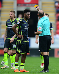 Ellis Harrison of Bristol Rovers is shown a yellow card. - Mandatory by-line: Alex James/JMP - 21/04/2018 - FOOTBALL - Aesseal New York Stadium - Rotherham, England - Rotherham United v Bristol Rovers - Sky Bet League One