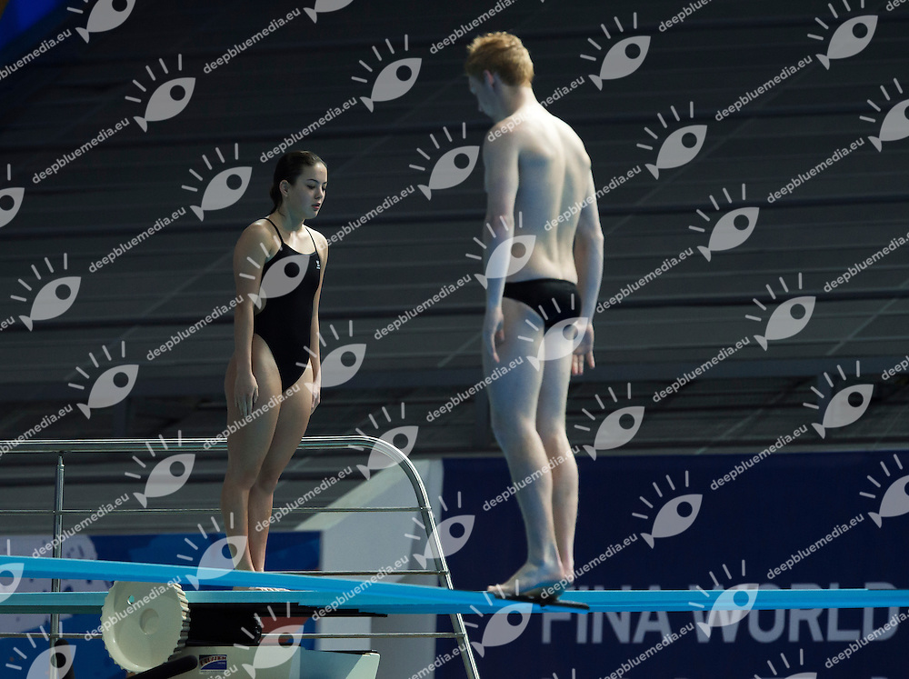 STONE Liam and CUI Elizabeth NZL<br /> Diving - Mixed 3m Synchro springboard final<br /> Day 10 02/08/2015<br /> XVI FINA World Championships Aquatics Swimming<br /> Kazan Tatarstan RUS July 24 - Aug. 9 2015 <br /> Photo Giorgio Perottino/Deepbluemedia/Insidefoto