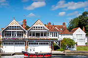 2Henley on Thames, England, United Kingdom, 6th July 2019, Henley Royal Regatta,  from the base, of the press Box,  [© Peter SPURRIER/Intersport Image]<br /> <br /> 09:42:46
