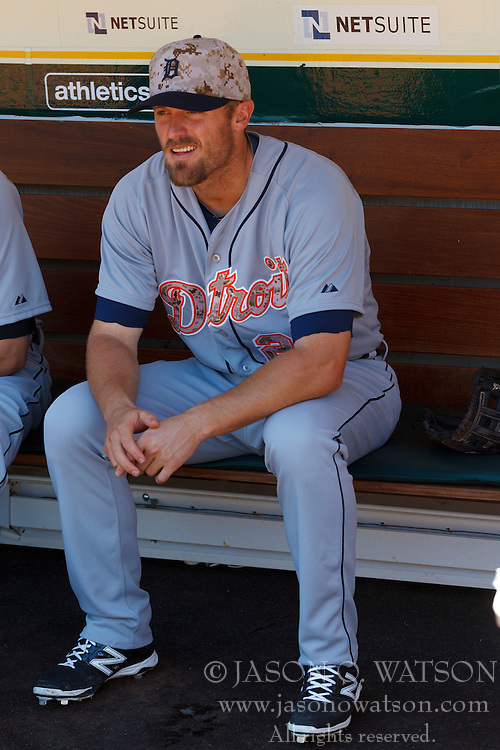 OAKLAND, CA - MAY 26:  Danny Worth #29 of the Detroit Tigers sits in the dugout before the game against the Oakland Athletics at O.co Coliseum on May 26, 2014 in Oakland, California. The Oakland Athletics defeated the Detroit Tigers 10-0.  (Photo by Jason O. Watson/Getty Images) *** Local Caption *** Danny Worth