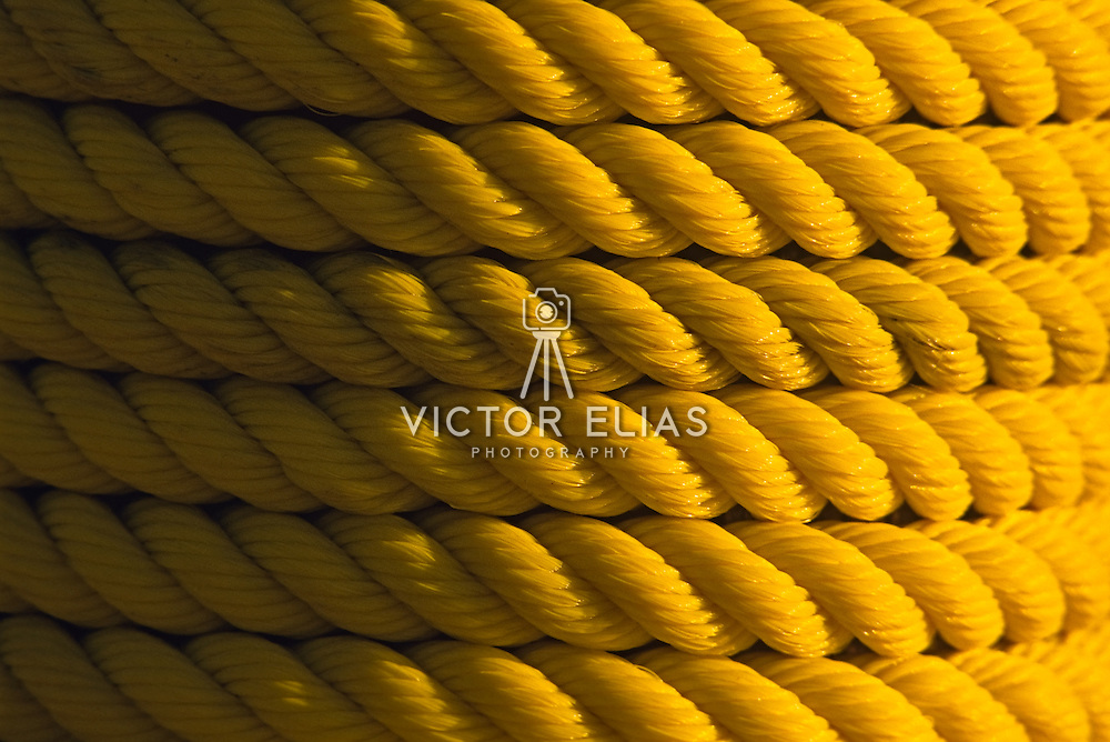 Yellow rope around pole. Baja California Sur, Mexico.