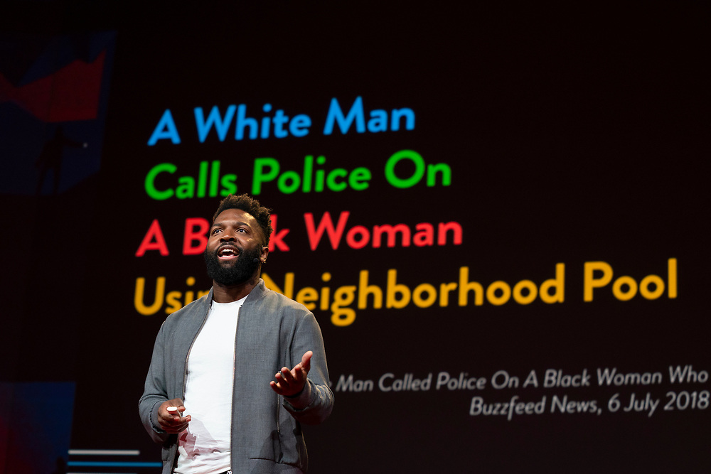 Baratunde Thurston speaks at TED2019: Bigger Than Us. April 15 - 19, 2019, Vancouver, BC, Canada. Photo: Bret Hartman / TED