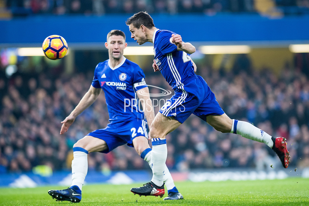 Chelsea defender Cesar Azpilicueta (28), Chelsea defender Gary Cahill (24) during the Premier League match between Chelsea and Hull City at Stamford Bridge, London, England on 22 January 2017. Photo by Sebastian Frej.