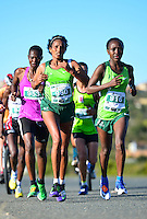 MOSSEL BAY, SOUTH AFRICA - SEPTEMBER 24: Alemtsehay Kakis (960) of Ethiopia in the women's race during the PetroSA Marathon finishing at Santos Caravan Park on September 24, 2016 in Mossel Bay, South Africa. (Photo by Roger Sedres/Gallo Images)