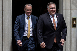 © Licensed to London News Pictures. 21/07/2020. London, UK. US Secretary of State Mike Pompeo (R) and Foreign Secretary Dominic Raab (L) leave 10 Downing Street. Photo credit: Rob Pinney/LNP