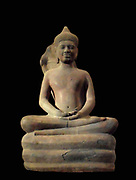 Buddha protected by Naga. 11th century style Baphuon (1050-1100) sandstone sculpture. Bayon (temple) Cambodia