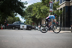 Dame Sarah Storey of Podium Ambition Cycling Team rides at the back of the bunch during the fourth, 70 km road race stage of the Amgen Tour of California - a stage race in California, United States on May 22, 2016 in Sacramento, CA.