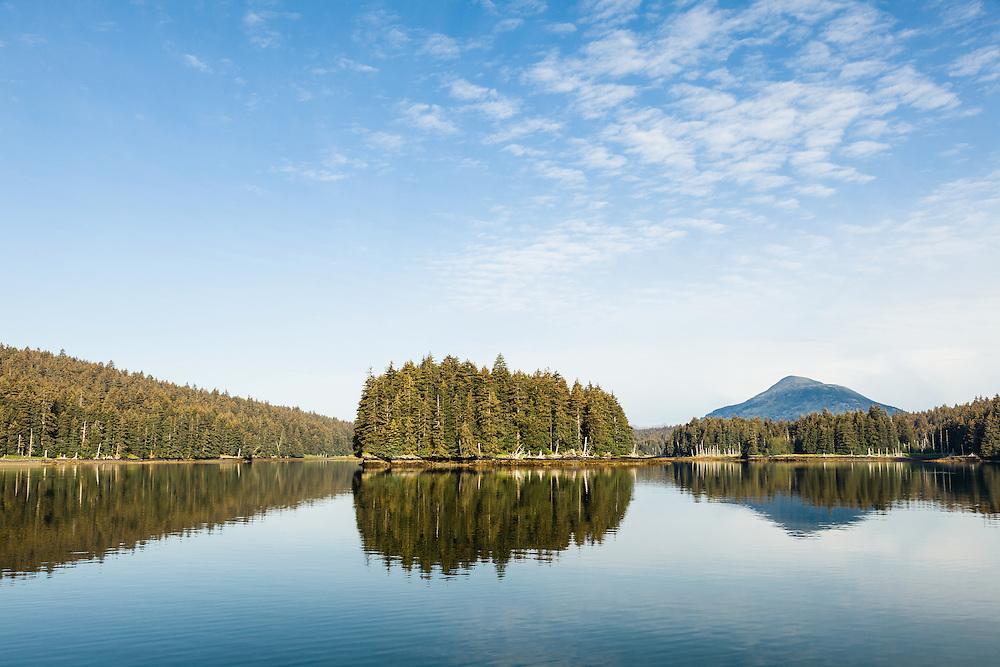 Reflections of spruce trees on island in Afognak Bay on Afognak Island in Southwestern Alaska. Summer. Morning.