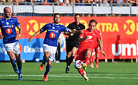 Fotball Menn Eliteserien Ranheim-Brann<br /> Extra Arena, Ranheim<br /> 4 august 2019<br /> <br /> Brann's Amer Ordagic (H) i duell med Ranheims Mads Reginiussen (midten) Til venstre: Magnus Blakstad, Ranheim<br /> <br /> <br /> Foto : Arve Johnsen, Digitalsport