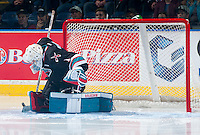 KELOWNA, CANADA - SEPTEMBER 25: Jackson Whistle #1 of Kelowna Rockets makes a save against the Kamloops Blazers on September 25, 2015 at Prospera Place in Kelowna, British Columbia, Canada.  (Photo by Marissa Baecker/Shoot the Breeze)  *** Local Caption *** Jackson Whistle;