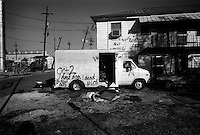 Spray painted signs mark the loss and damage on vehicles homes and building fronts for rescue personnel citizens as they return to the city Oct. 5, 2005 New Orleans La.   photo by darren hauck