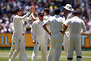 The English team celebrate the first wicket during the Magellan fourth test match between Australia v England at  the Melbourne Cricket Ground, Melbourne, Australia on 26 December 2017. Photo by Mark  Witte.