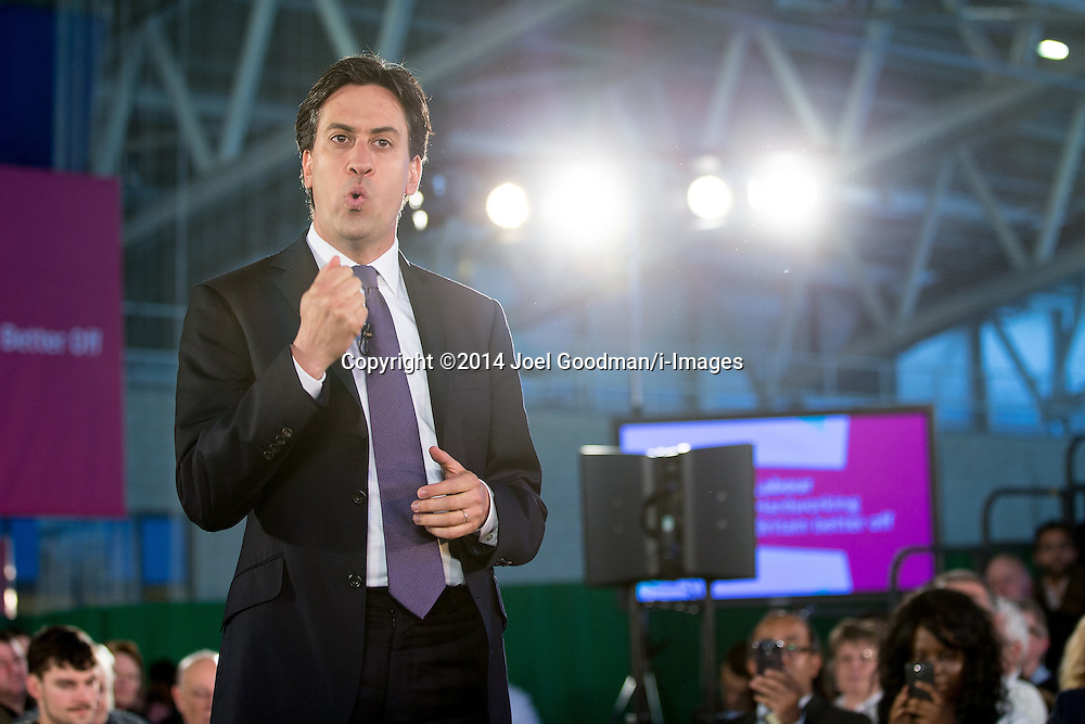 Ed Miliband Health Speech. Manchester, United Kingdom. Monday, 12th May 2014. The leader of the Labour Party , ED MILIBAND , delivers a speech on health at the National Squash Centre in Manchester . Picture by Joel Goodman/i-Images