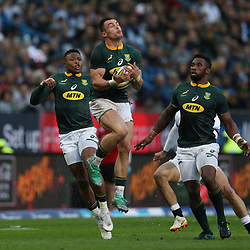 Jesse Kriel of South Africa taking a high ball during the 2018 Castle Lager Incoming Series 3rd Test match between South Africa and England at Newlands Rugby Stadium,Cape Town,South Africa. 23,06,2018 Photo by (Steve Haag JMP)