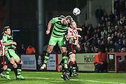Forest Green Rovers Jonathan Parkin heads for goal during the Vanarama National League match between Cheltenham Town and Forest Green Rovers at Whaddon Road, Cheltenham, England on 21 November 2015. Photo by Shane Healey.