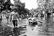 Flooding in the Phra Pradaeng neighborhood of Bangkok, Thailand.