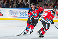 KELOWNA, CANADA - NOVEMBER 10: Cal Foote #25 of the Kelowna Rockets skates with the puck against the Vancouver Giants on November 10, 2017 at Prospera Place in Kelowna, British Columbia, Canada.  (Photo by Marissa Baecker/Shoot the Breeze)  *** Local Caption ***