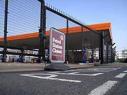 UK ENGLAND LONDON 30MAR12 - A Sainsbury's petrol station is closed after supplies ran dry due to panic buying by motorists in the past few days. Queues have formed at petrol stations as demand for fuel shot up after ministers called for people to top up in case of a tanker drivers' strike. The Petrol Retailers Association said ministers had been 'irresponsible' and were at fault for the panic buying..jre/Photo by Jiri Rezac..© Jiri Rezac 2012
