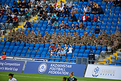ASTANA, KAZAKHSTAN - Sunday, September 17, 2017: Kazakhstan army and supporters during the FIFA Women's World Cup 2019 Qualifying Round Group 1 match between Kazakhstan and Wales at the Astana Arena. (Pic by David Rawcliffe/Propaganda)