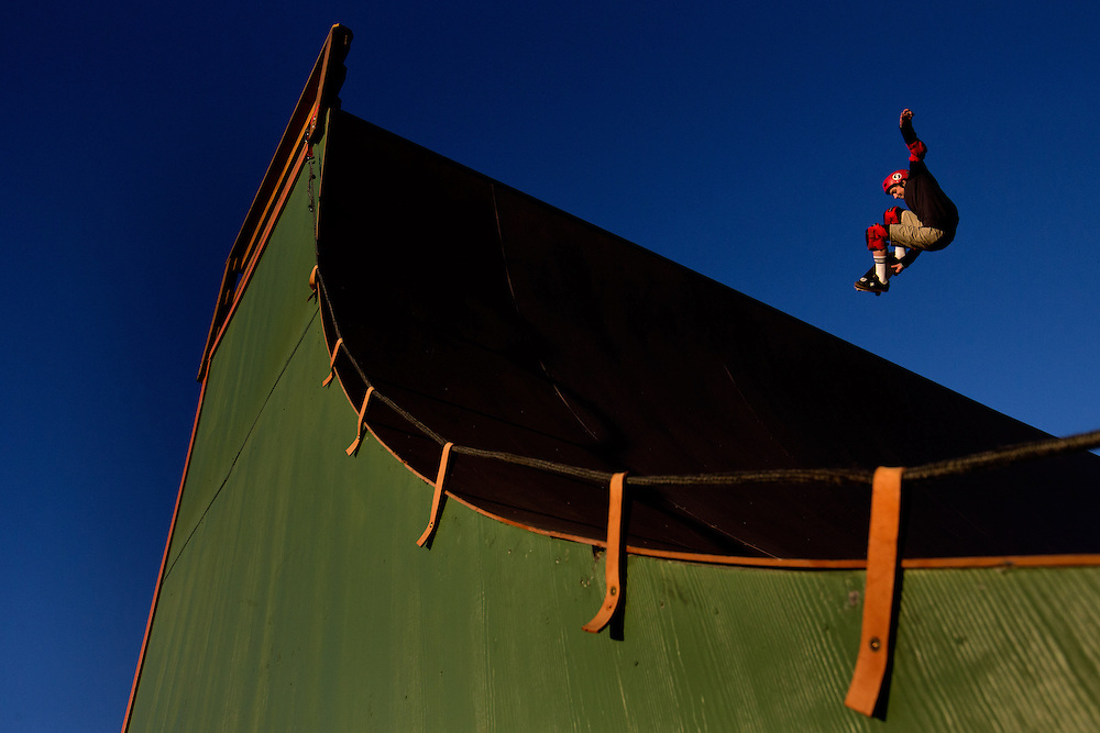 Jono Schwan, 15, flies out of the vert ramp at Memorial Park in Colorado Springs, Tuesday, Nov. 13, 2012. Schwan, the youngest skater to compete in the X Games, raised the money for and built the $200,000 vert ramp with the help of his non-profit organization, Sk8-Strong.