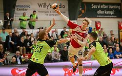 Janus Smaráson (Aalborg Håndbold) scorer under kampen i Herrehåndbold Ligaen mellem Nordsjælland Håndbold og Aalborg Håndbold den 27. november 2019 i Helsinge Hallen (Foto: Claus Birch).