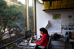 Adriana Vallejo works inside the office of Tatiana Bilbao in Mexico City.