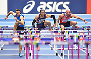 left to right Milan Trajkovic (CYP), Pascal Martinot-Legarde (FRA) and Petr Svoboda (CZE) clear the hurdle in their Semi Final of the Men's 60m Hurdles, Trajkovic won in a National record of 7.51during the final session of the IAAF World Indoor Championships at Arena Birmingham in Birmingham, United Kingdom on Saturday, Mar 2, 2018. (Steve Flynn/Image of Sport)