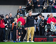 LAFC co-owner Will Ferrell holds falcon mascot Olly during a MLS soccer match against the Sporting KC in Los Angeles, Sunday, March 3, 2019. LAFC defeated Sporting KC, 2-1. (Ed Ruvalcaba/Image of Sport)