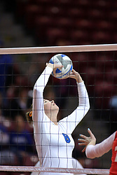 29 October 2011: Michelle Sicner sets During a match between the Creighton Bluejays and the Illinois State Redbirds at Redbird Arena in Normal Illinois