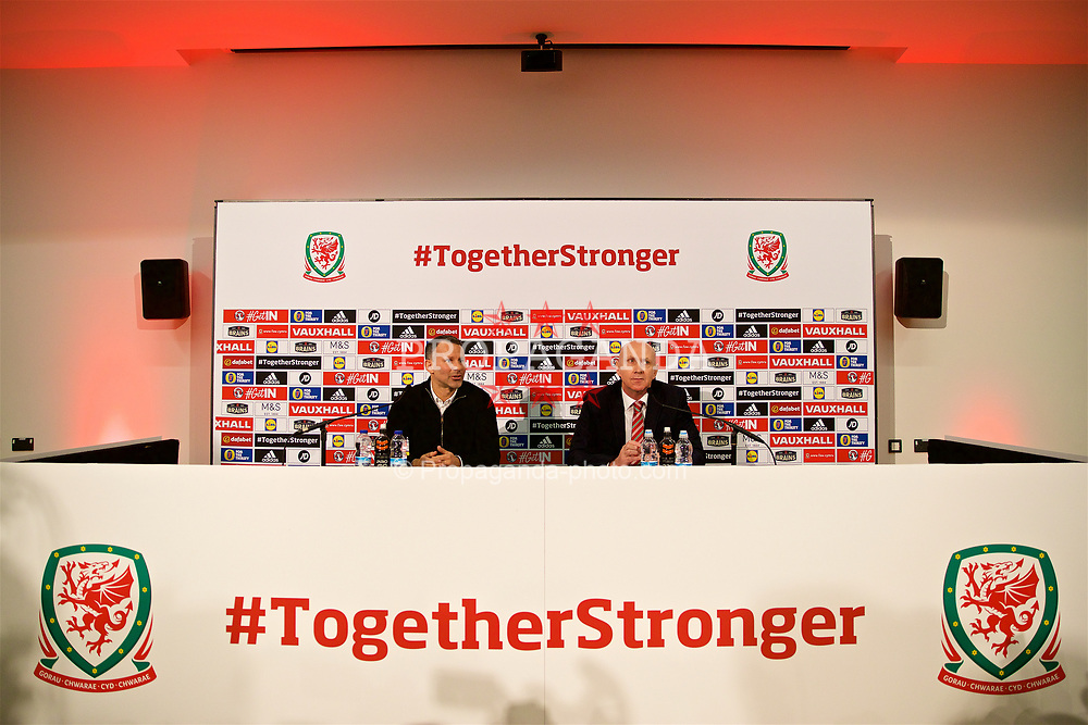 CARDIFF, WALES - Thursday, March 15, 2018: Wales' manager Ryan Giggs and head of public affairs Ian Gwyn Hughes during a press conference at the St Fagans National Museum of History as he announces the squad for the forthcoming China Cup. (Pic by David Rawcliffe/Propaganda)