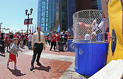 "May 19, 2012; Newark, NJ, USA; A young fan plays ""Dunk a Ranger"" before game three of the 2012 Eastern Conference Finals at the Prudential Center."