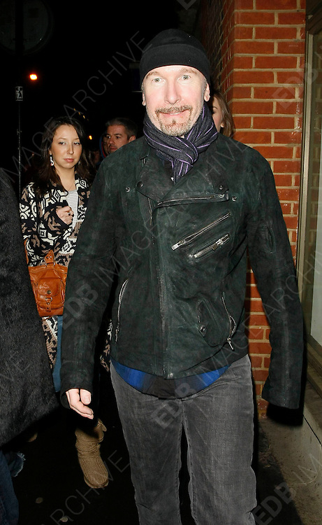 22.JANUARY.2010           LONDON<br /> <br /> U2'S THE EDGE ATTENDS THE HOSPITAL CLUB IN COVENT GARDEN LONDON AFTER PARTICIPATING IN THE HELP FOR HAITI CAUSE. CELEBS ALL OVER WORLD PERFORM TO RAISE MONEY FOR THE LATEST DISASTER TO SHOCK THE WORLD IN HAITI IN THE CARIBBEAN.<br /> <br /> BYLINE MUST READ : EDBIMAGEARCHIVE.COM<br /> <br /> *THIS IMAGE IS STRICTLY FOR UK NEWSPAPERS AND MAGAZINES ONLY FOR WORLD WIDE SALES AND WEB USE PLEASE CONTACT EDBIMAGEARCHIVE - 0208 954 5968